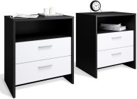 Set of 2 bedside tables Matera Black Matt and White Matt